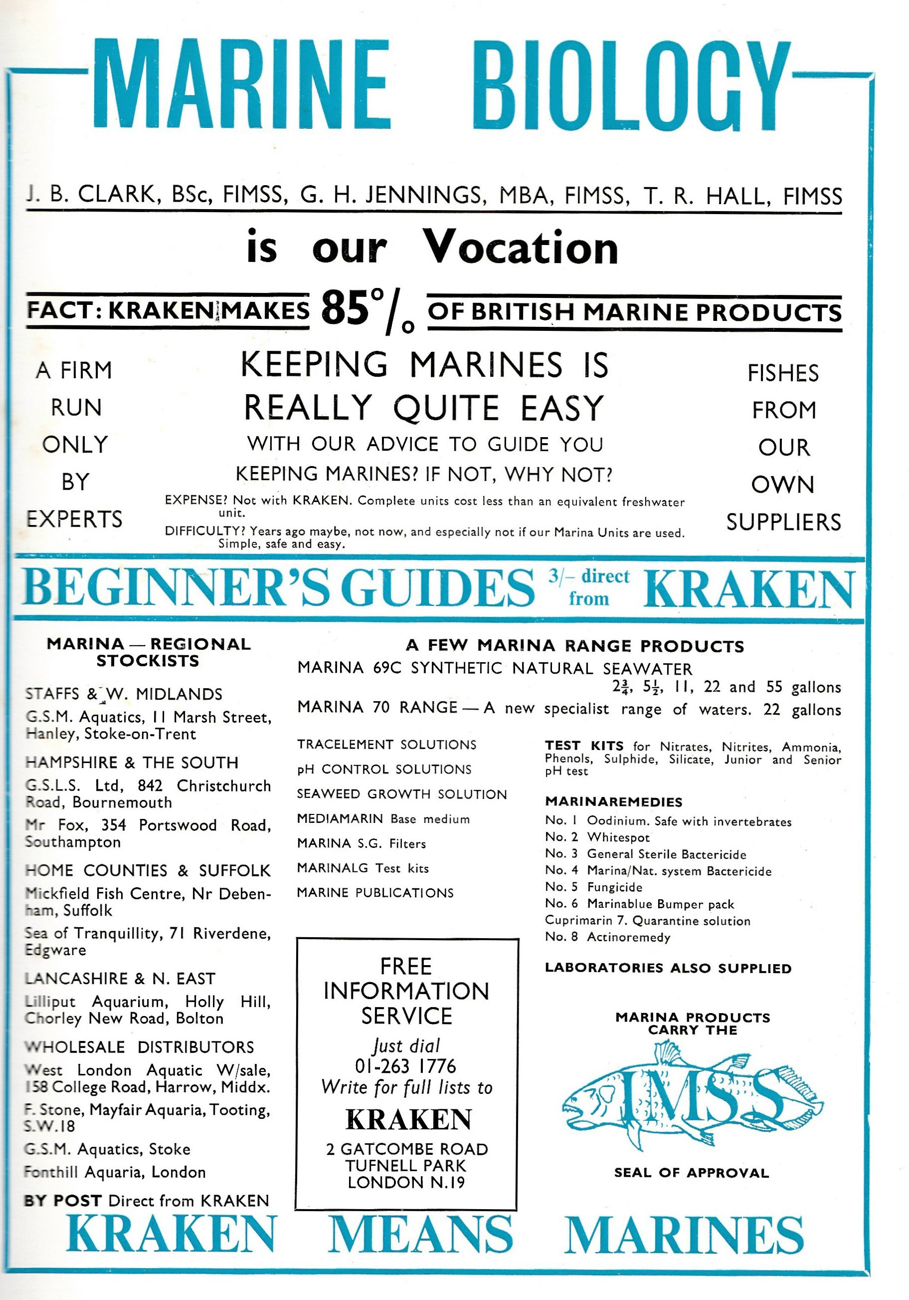 Kraken product range and stockists of Marina  in 1969