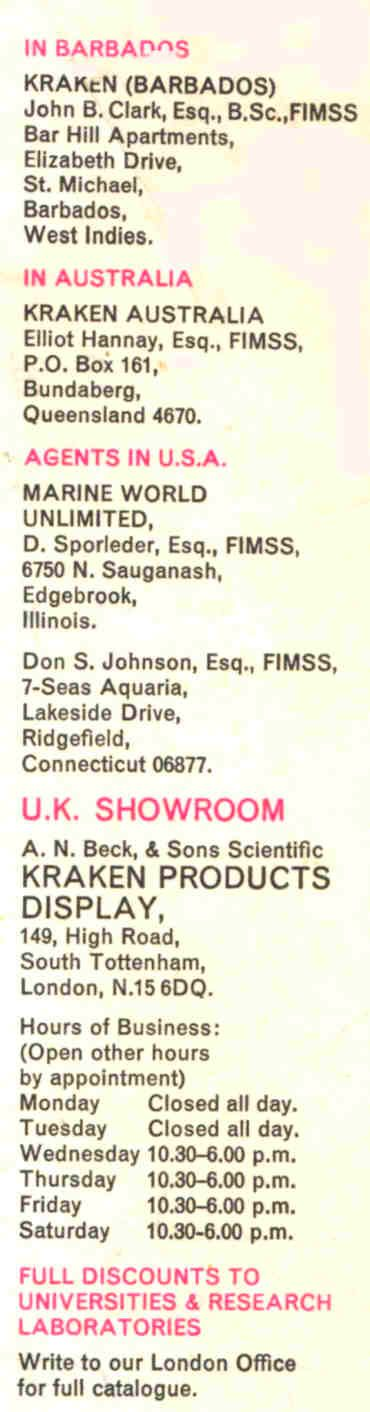 KRAKEN agents and Marina product suppliers worldwide 1969